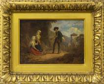 Antique English School Oil On Canvas Painting