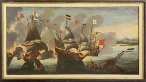 Large Antique European Naval Battle Oil Painting