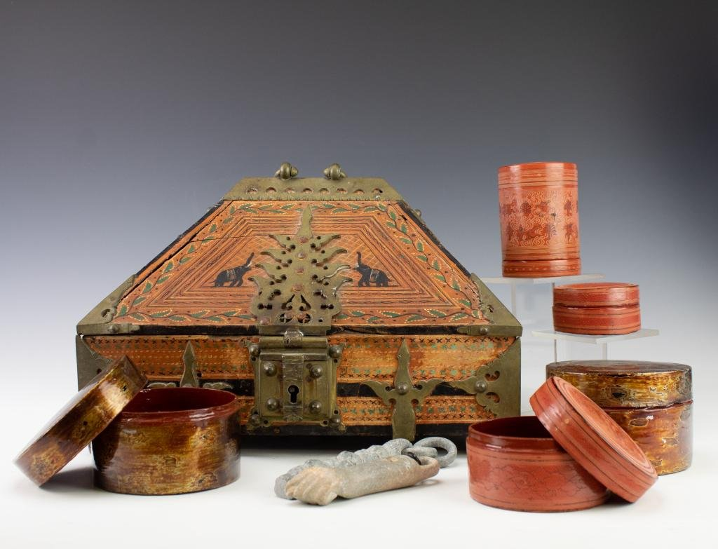 LOT 8 Myanma Thai Burma Lacquer Storage Containers