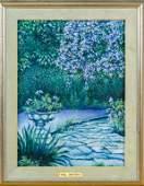 Paul Bruyere 20c French Garden Landscape Painting
