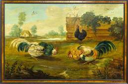Antique Style Cock Fight Landscape Oil Painting