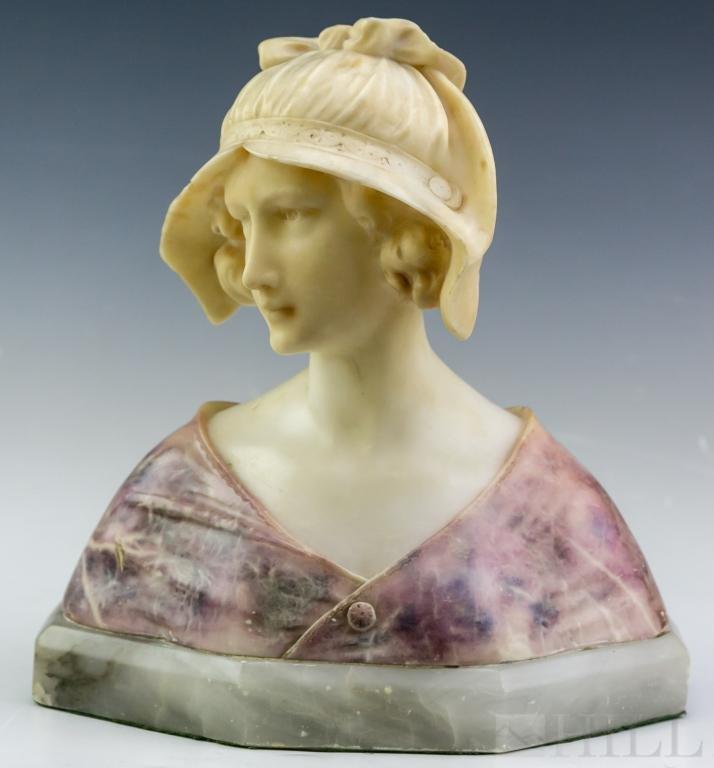 Signed F. Masini Italian Carved Marble Sculpture