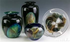 4 William Sally Worcester Studio Art Glass Vases