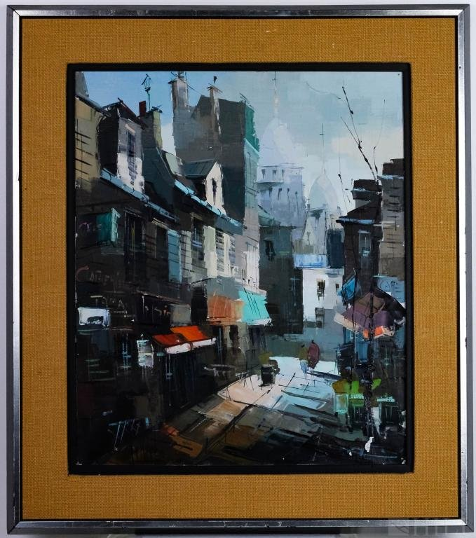 MCM Modern French Montmarte Cityscape Oil Painting