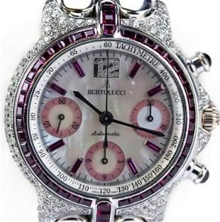 Bertolucci 18 White Gold Diamond Ruby Chrono Watch