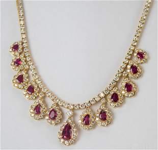 18k Gold 20 CTTW Diamond Ruby Dangle Drop Necklace