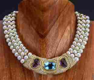 18k Gold & Diamond Akoya Pearl Gemstone Necklace
