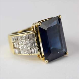 20.25 CTTW Diamond & Natural Sapphire w/ AGL, Ring