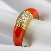 VCA Van Cleef & Arpels 18k Gold Diamond Coral Ring