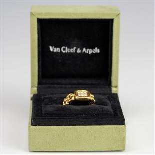 VCA Van Cleef & Arpels 18k Gold Flex Diamond Ring Sz 7