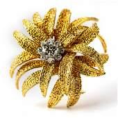 VCA Van Cleef  Arpels 18k Gold Diamond Brooch Pin