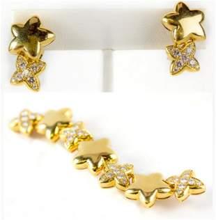VCA Van Cleef & Arpels Diamond Star Brooch Earring