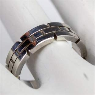 Cartier 18k White Gold Tank Francaise Band Ring s8