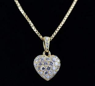 Cartier 18k & Diamond Puffy Heart Pendant w Chain