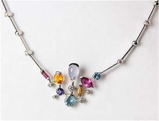 Cartier 18k Meli Melo Diamond Gemstone Necklace