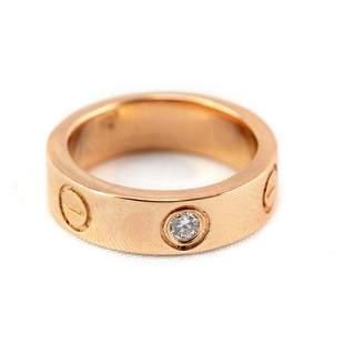 Cartier 18K Rose Gold & Diamond Love Ring Sz 4 1/2