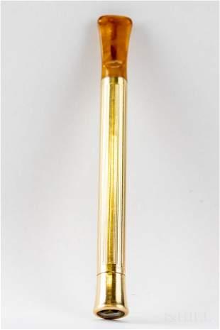 Cartier 14k Gold & Bakelite Cigarette Holder VTG