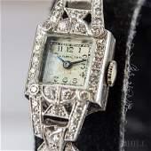 Antique Hamilton Platinum  Diamond Cocktail Watch