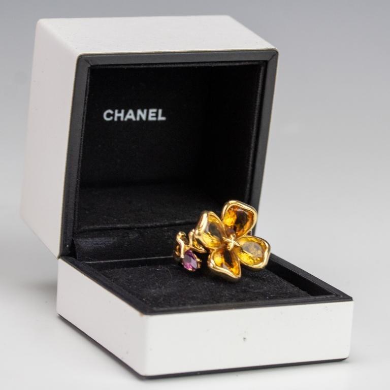Chanel 18k Gold Citrine Amethyst Flower Ring Sz 6