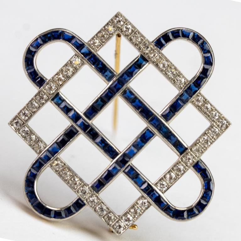 Art Deco Platinum 14k Diamond Sapphire Pin Brooch