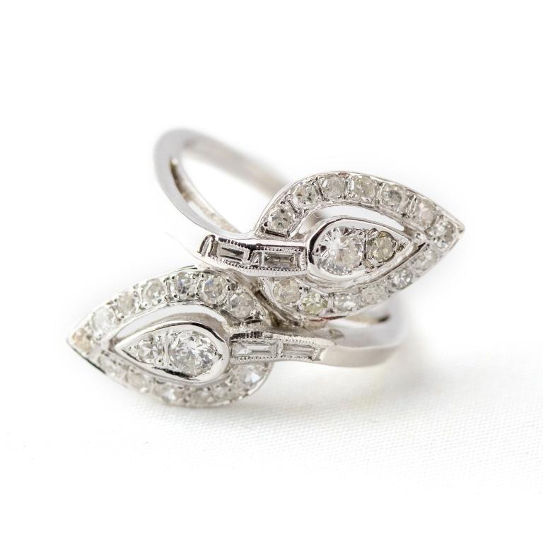 Art Deco 14k White Gold  & 1 CTTW Diamond Ring s5