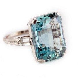 Art Deco Platinum Aquamarine, Diamond 22 CTTW Ring