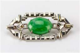 Art Deco Krementz Green Jade Diamond Platinum Pin