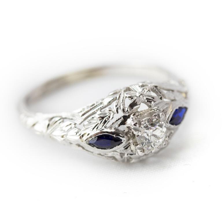Art Deco Diamond & Sapphire 18k White Gold Ring