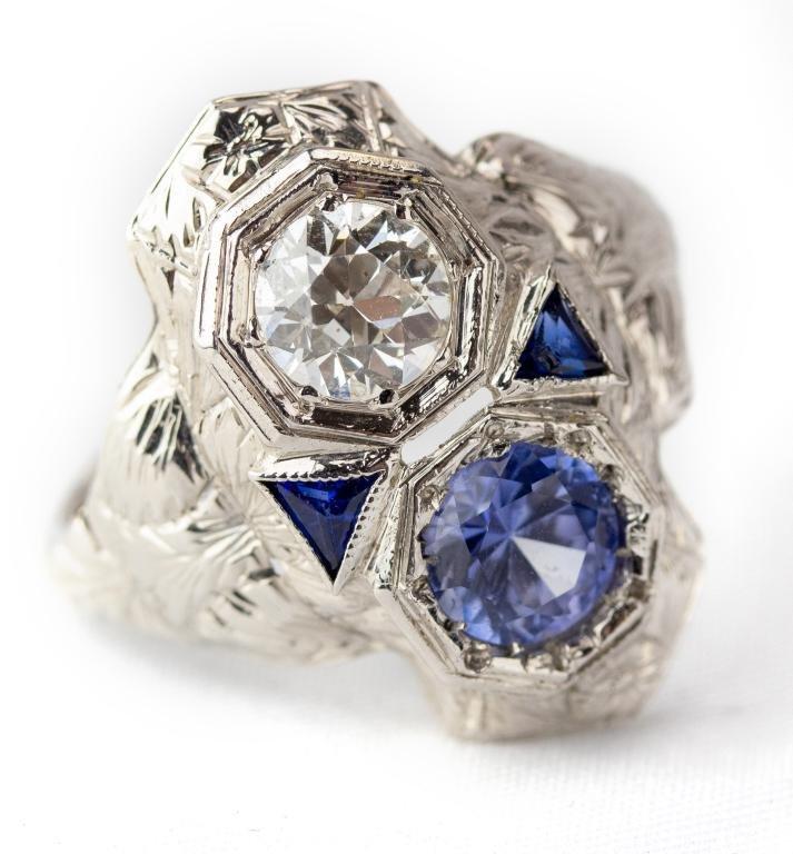 Art Deco 14k Gold Diamond & Blue Sapphire Ring