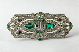 Art Deco Platinum Emerald Diamond 9.65 CTTW Brooch
