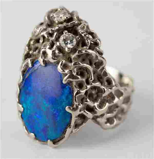 Ed Weiner 14k White Gold Diamond & Opal Ring RARE