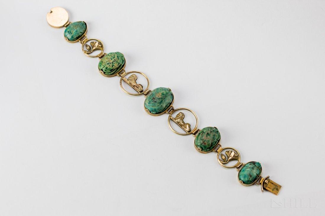 9k Gold Egyptian Revival Carved Scarab Bracelet