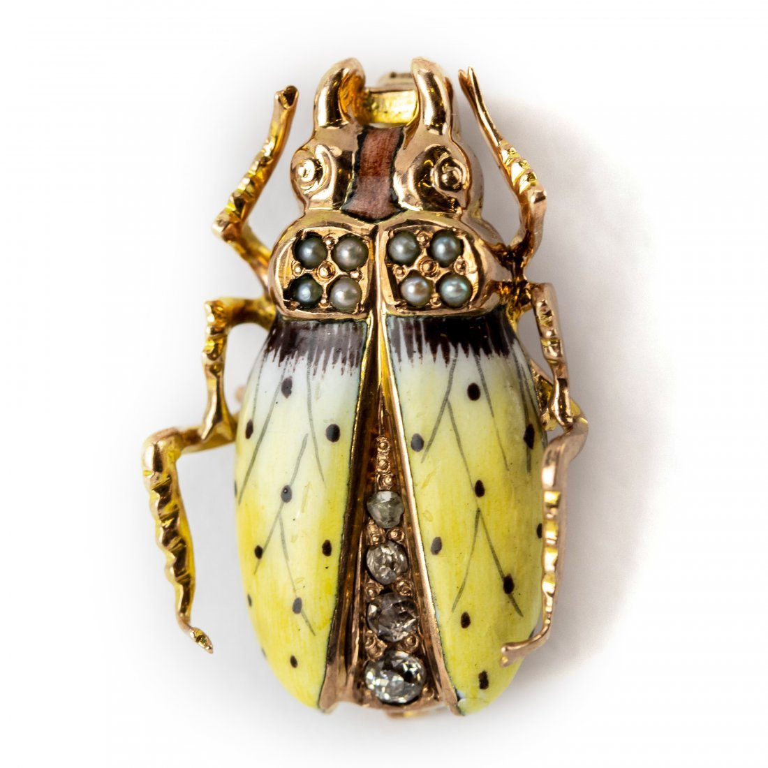 Victorian Diamond Pearl & Enamel Scarab Bug Brooch