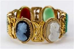 Victorian 14k Gold Agate Carnelian Cameo Bracelet
