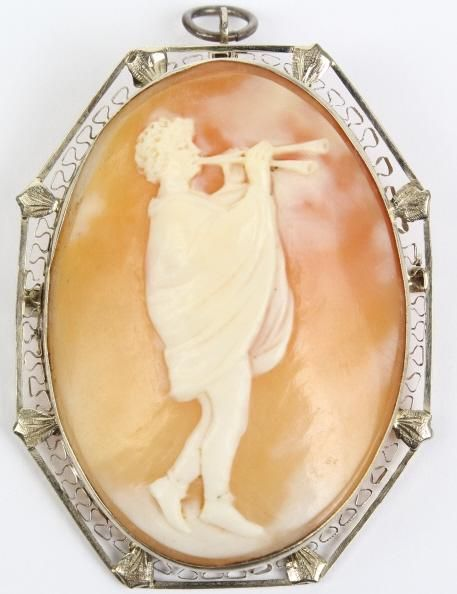Victorian 14k Gold Carved Shell Cameo Pendant Pin