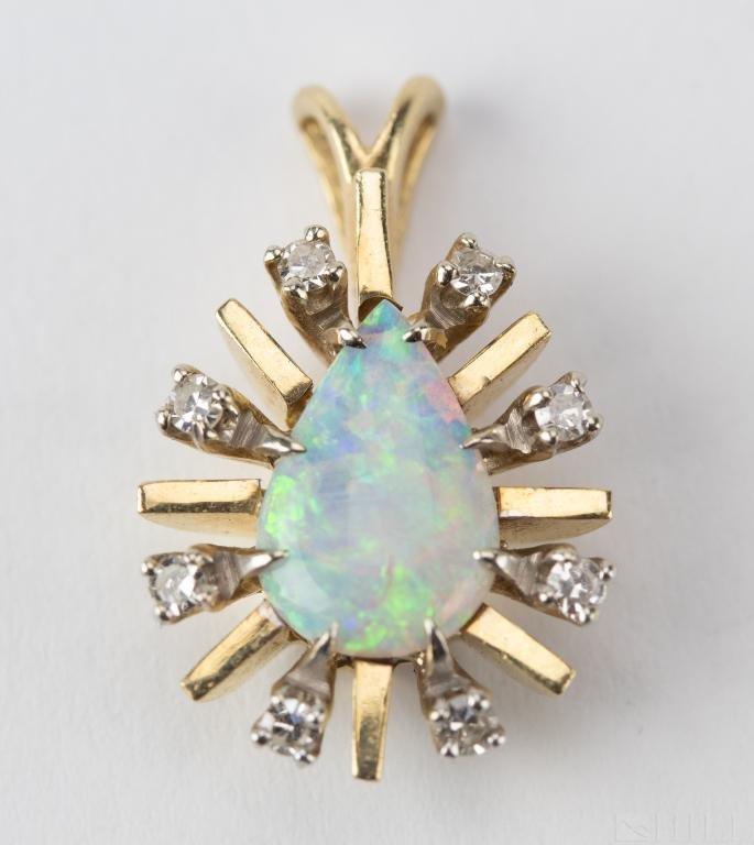 Vintage 14k Gold Opal & Diamond Necklace Pendant