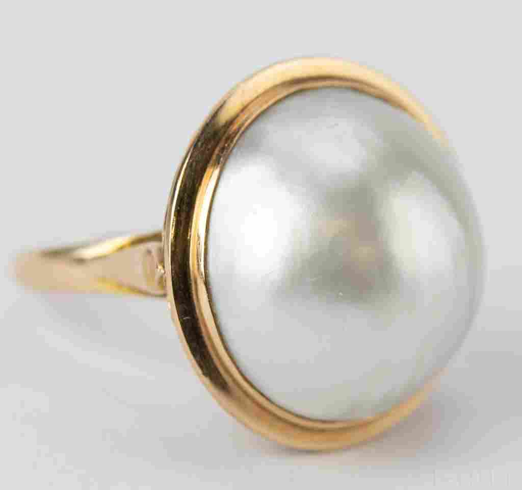 Vintage 14k Gold 20mm Mabe Pearl Ring Size 6 3/4