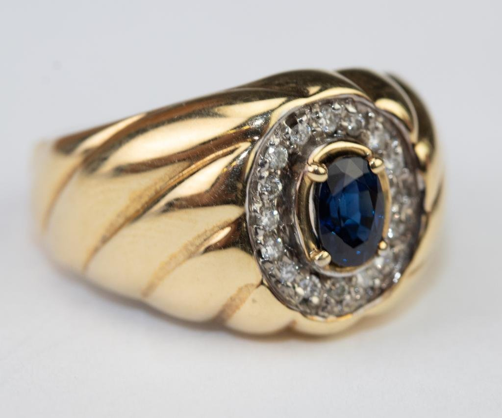 Men's 14k Gold Diamond & Blue Sapphire Ring Sz 9.5