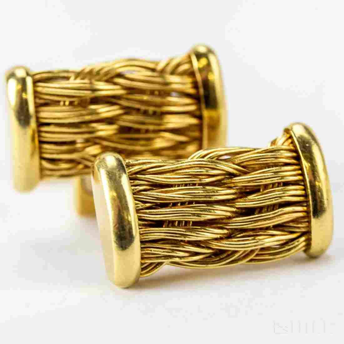 Men's Signed Henry Dunay 18k Gold Cufflinks VTG