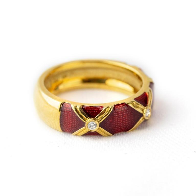 Signed Hidalgo 18k Gold, Diamond & Enamel Ring