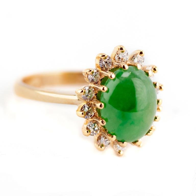 Fine 14k Gold Green Jade & Diamond Ring Size 6