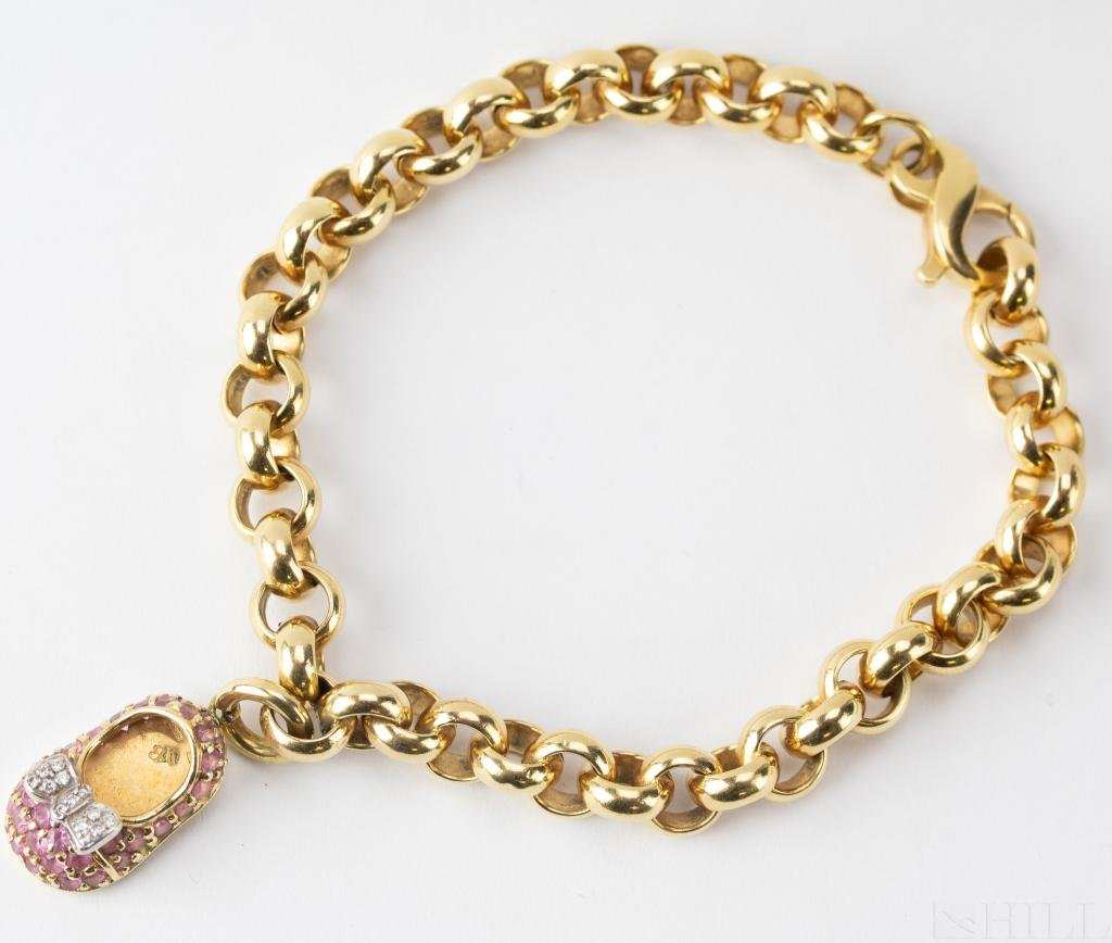 Aaron Basha 18k Gold Diamond & Sapphire Bracelet
