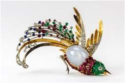 18k Gold Star Sapphire & Gem Bird Paradise Brooch