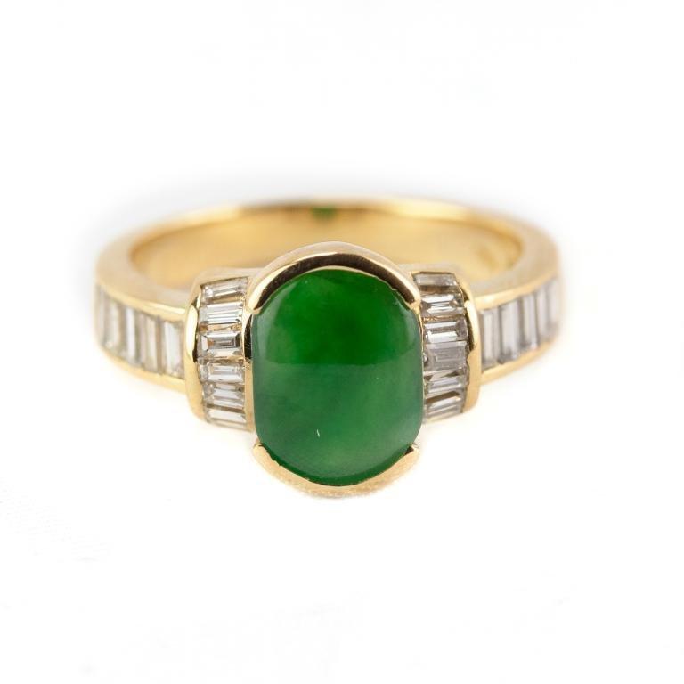 18k Gold Apple Green Jade Channel Set Diamond Ring