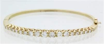 14k Gold 125 Ct TW Diamond Bangle Bracelet 114gr