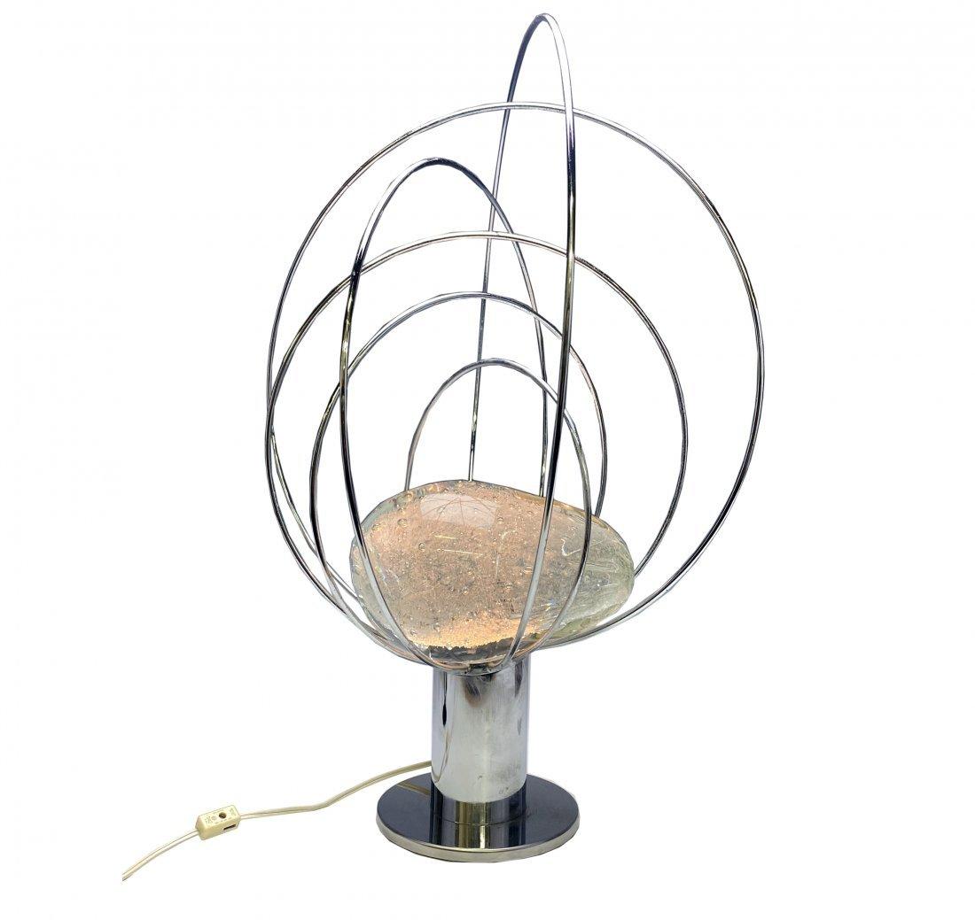 Angelo Brotto Esperia Chrome Murano Art Glass Lamp