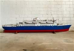 Huge Vintage Wood Diamond Crown Ship Replica Model