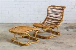 Modern Mid Century Rattan Lounge Chair & Ottoman