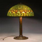 """Tiffany Studios Pomegranate 16"""" Shade Bronze Lamp"""