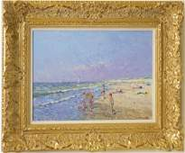 Niek van der Plas b1954 Beach Landscape Painting